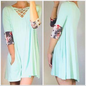 Mint Criss Cross Tunic Dress